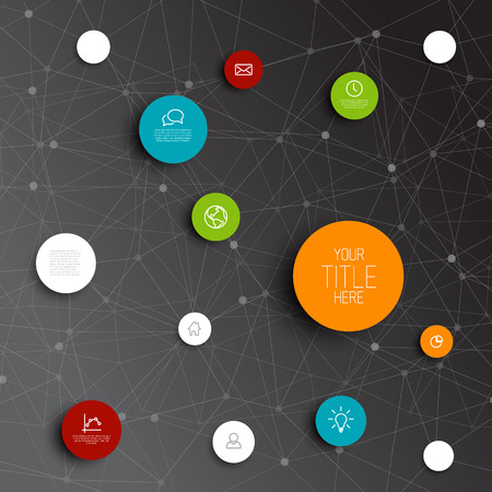 mind map: abstract circles illustration  infographic network template with place for your content - dark version Illustration
