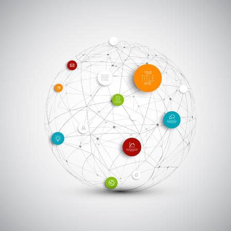 抽象的な円図インフォ グラフィック ネットワークの内容のための場所とテンプレート