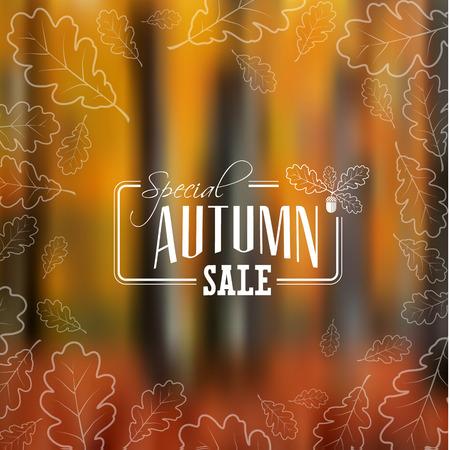 Vente d'automne rétro affiche avec abstrait automne floue