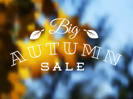 抽象的なぼやけた秋の背景を持つ秋販売レトロ ポスター  イラスト・ベクター素材
