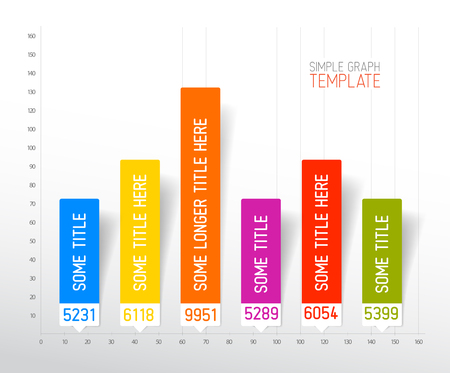 column chart: Infographic flat design column graph chart colorful template Illustration