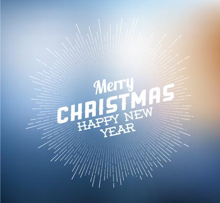 vintage retro christmas label on blurred background Vector
