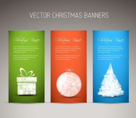tree vertical: Set of three vector christmas  New Year vertical banners Illustration