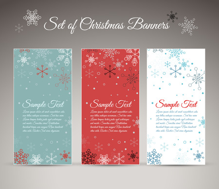 red snowflake background: Set of three vector christmas  New Year vertical banners with snowflakes