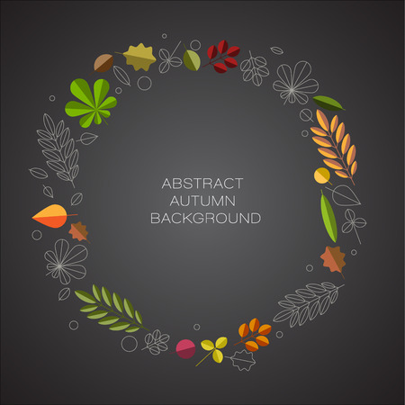 minimalist: Autumn abstract floral background circle made from minimalist leafs with place for your text - dark version
