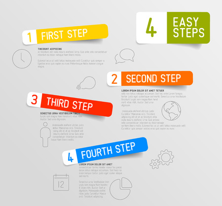 web templates: Vector Infographic 4 steps template with icons