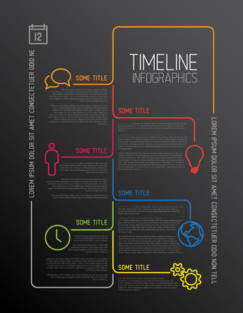 Infographic timeline report template with icons made from thin line - dark vertical version Vector