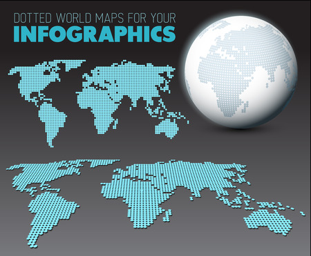 World map globe template made from dots for your infographics world maps and 3d globe elements for your infographics reports dark version vector gumiabroncs Image collections