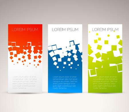 Eenvoudige kleurrijke horizontale banners - met vierkant motief