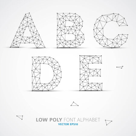 ice alphabet: Wire Vector low poly alphabet font with shadow