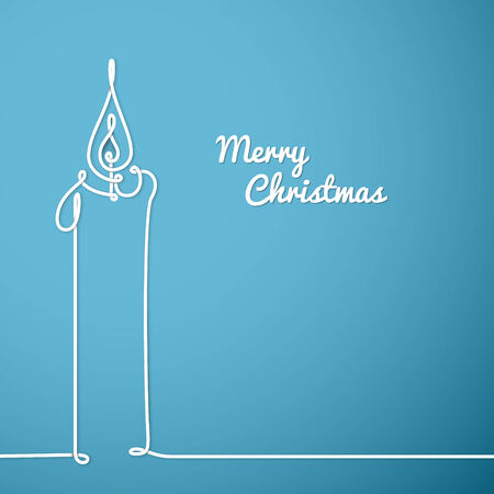 simple line drawing: Vector christmas card - simple continuous line drawing Illustration