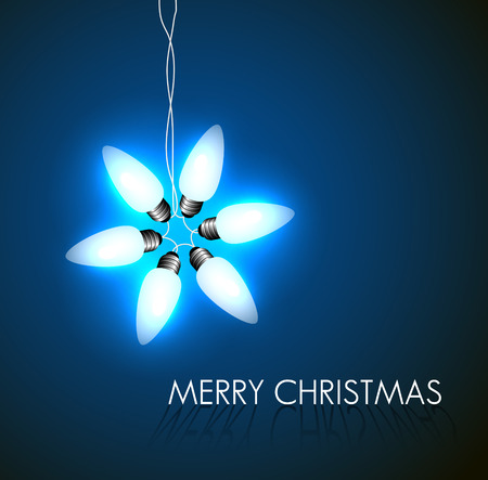 Vector background with christmas star made from lights on blue Vector