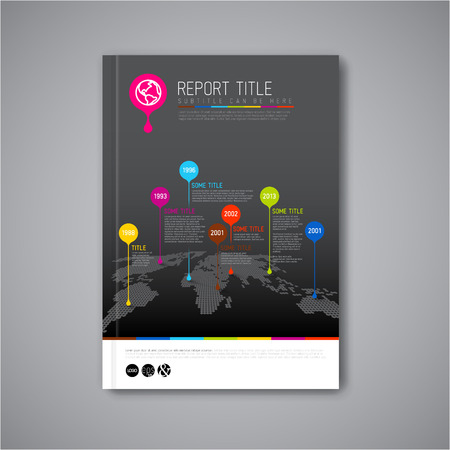 Modern Vector abstract brochure, report or flyer dark design template