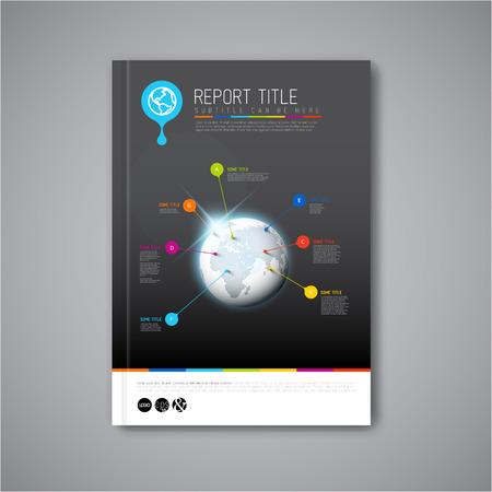 Moderno Vector abstracto folleto, informe o folleto plantilla de diseño oscuro Foto de archivo - 33236953