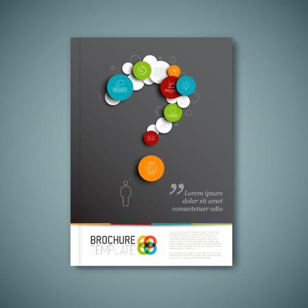 물음표와 함께 현대 벡터 추상 브로셔, 보고서 또는 전단 디자인 템플릿 스톡 콘텐츠 - 33236957