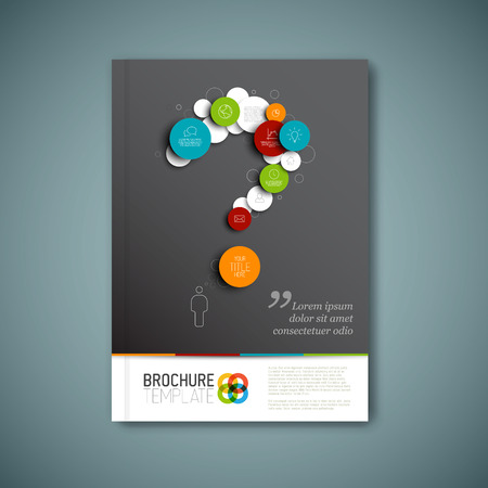 Modern Vector abstract brochure, report or flyer design template with question mark Vector