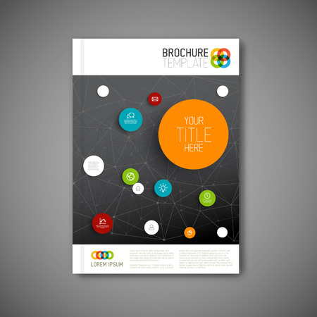 Modern Vector abstract brochure, report or flyer dark design template Vector