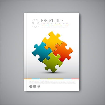 Moderne Vector abstracte brochure, rapport of flyer ontwerp sjabloon met puzzelstukjes Stock Illustratie
