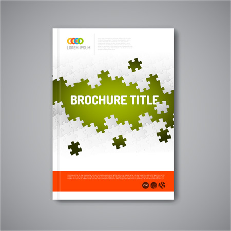 the brochure: Folleto resumen, informe o folleto plantilla Moderno dise�o vectorial con piezas de un rompecabezas