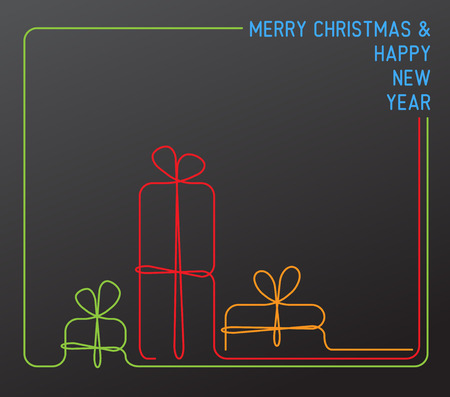 simple line drawing: Vector christmas card - christmas presents, gift boxes - simple dark continuous line drawing