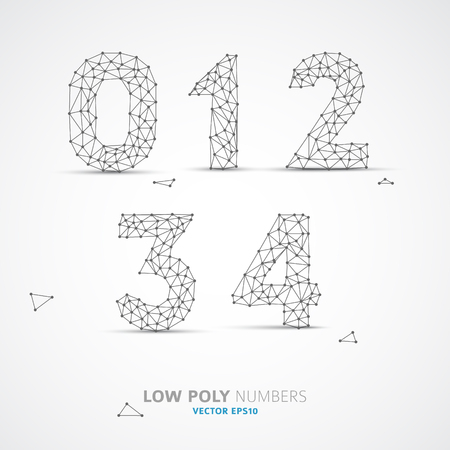 web 2 0: Blue Vector low poly (wired) numbers font with shadow