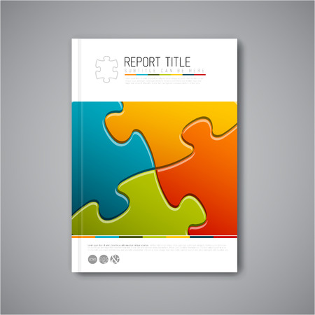 puzzle business: Modern Vector abstract brochure, report or flyer design template with puzzle pieces Illustration