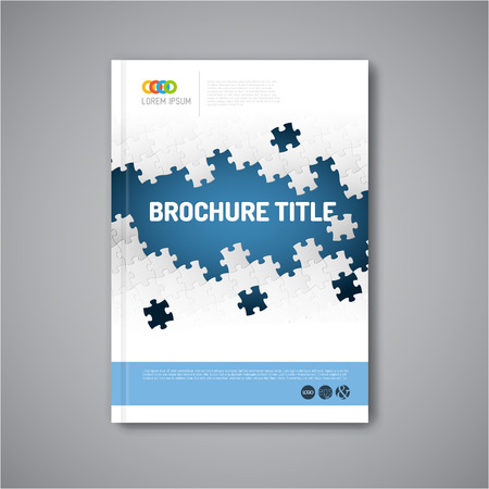 Modern Vector abstract brochure, report or flyer design template with puzzle pieces Çizim