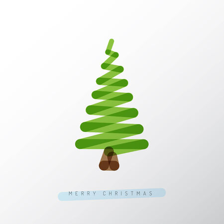 one color: Simple minimalistic vector christmas tree made from one line Illustration