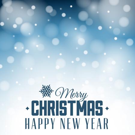 Vector vintage retro christmas label on blue blurred background Vector