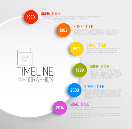 Vector Infographic timeline report template with icons Vettoriali