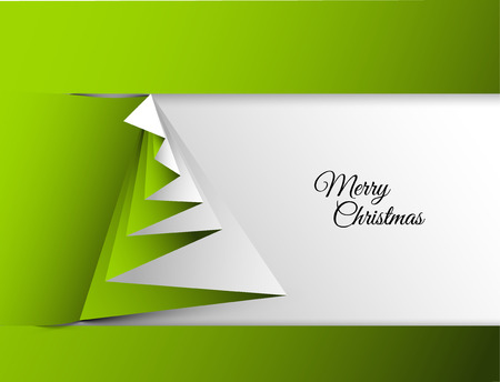 Simple vector christmas tree made from paper - original new year card Çizim