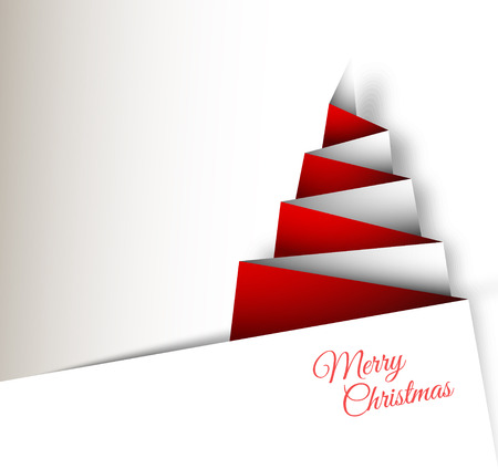 Simple vector christmas tree made from paper - original new year card Ilustração