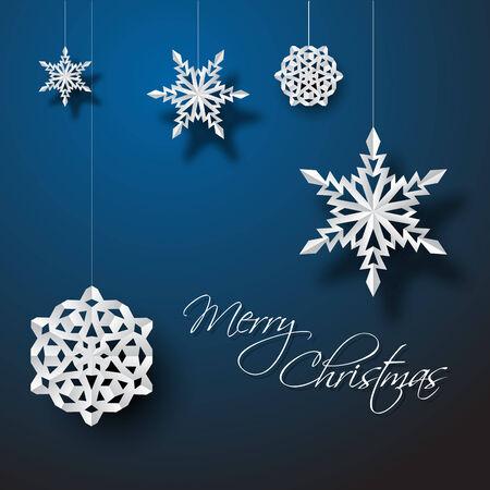 fiambres: Copos de nieve Vector libro blanco de la Navidad en un fondo azul