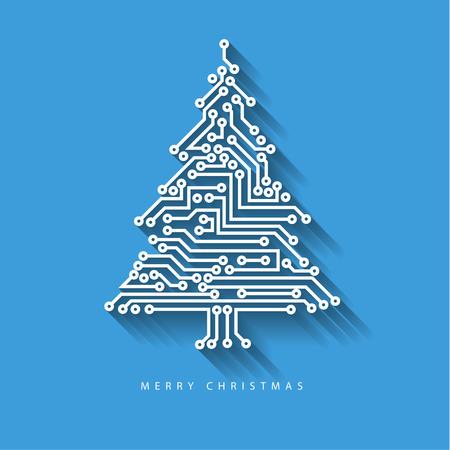 Árbol de navidad del vector de circuito electrónico digital sobre fondo azul con sombra larga