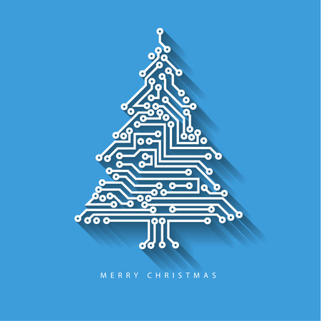 Vector christmas tree from digital electronic circuit on blue background with long shadow Çizim