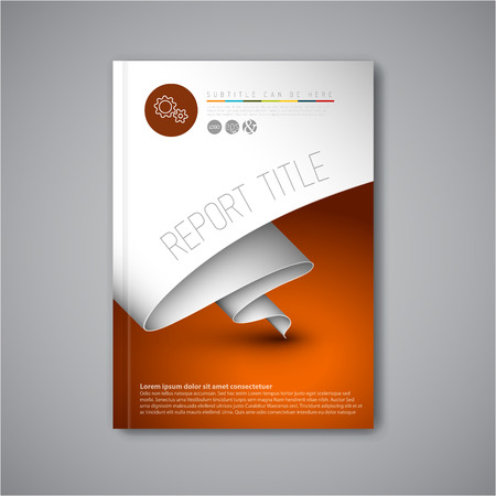 Modern Vector abstract brochure / book / flyer design template with paper 일러스트