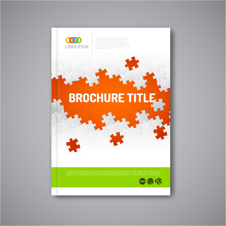 portadas: Folleto resumen, informe o folleto plantilla moderno dise�o vectorial con piezas de rompecabezas