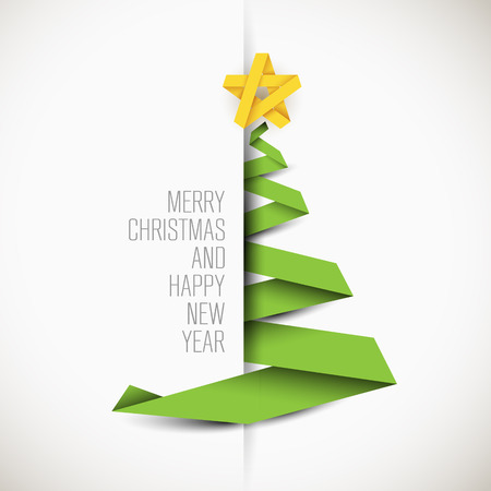 Simple vector card with green christmas tree made from paper stripe - original new year card Vectores