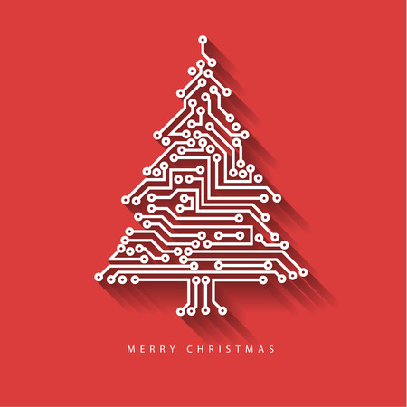 electronic circuit: Vector christmas tree from digital electronic circuit on red background with long shadow