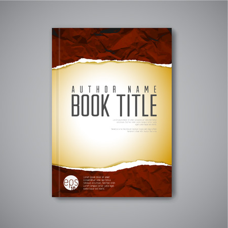 Modern Vector abstract book cover template with teared paper