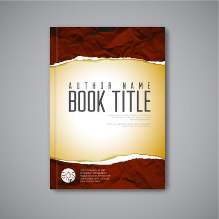 lagrimas: Modelo abstracto moderno portada del libro del vector con el papel rasgado