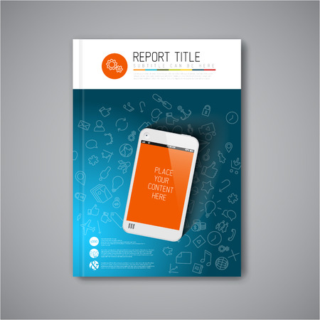 catalog design: Modern Vector abstract brochure  book  flyer design template with smartphone