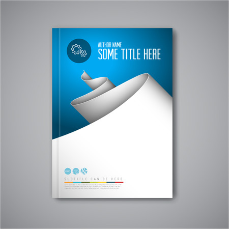 Modern Vector abstract brochure / book / flyer design template with paper Çizim