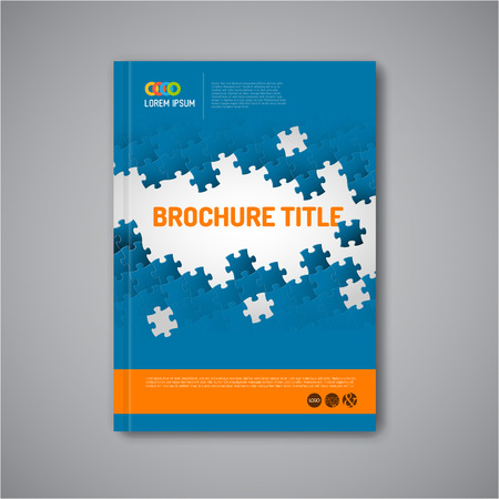 puzzle background: Modern Vector abstract brochure, report or flyer design template with puzzle pieces Illustration