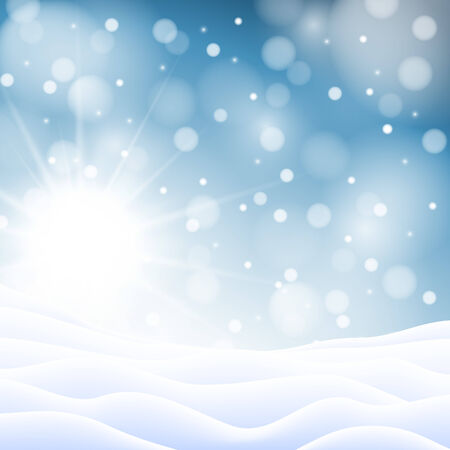 snow drifts: Christmas snowy background with sun, snowflakes and snowdrifts