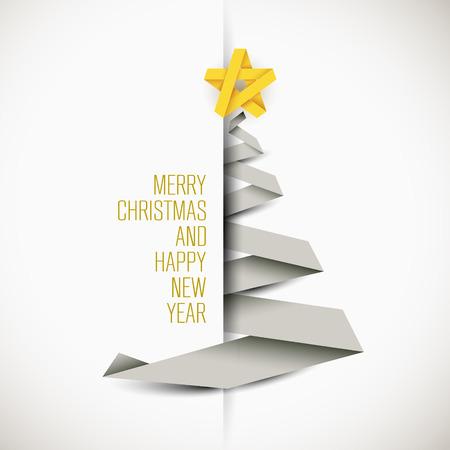 amarillo: Tarjeta simple del vector con el árbol de navidad blanco hecho de la raya de papel - tarjeta original del año