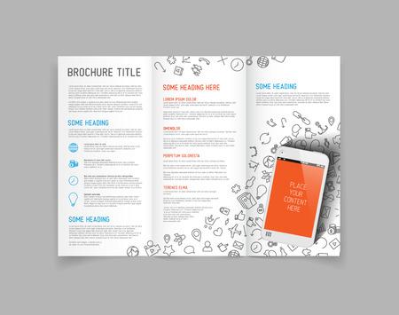 Modern Vector three fold brochure  leaflet  flyer design template with smartphone