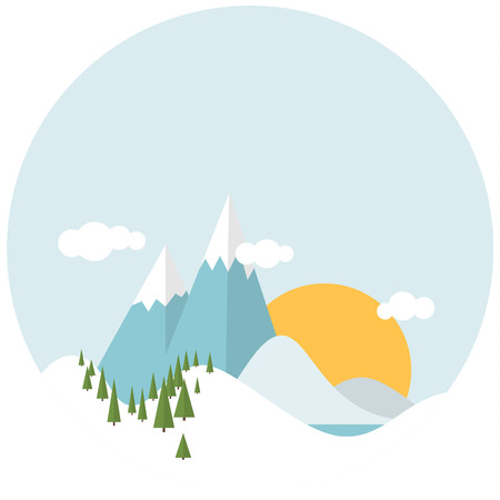 deign: Simple Flat design winter snowy landscape with mountains and trees Illustration