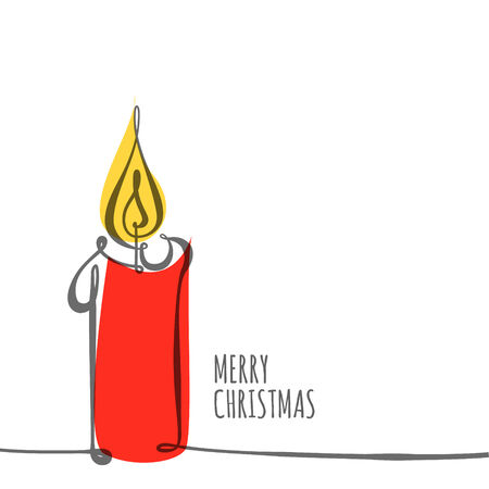 white candle: Vector christmas card - simple continuous line drawing of a candle