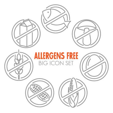 Set di icone vettoriali per allergeni prodotti gratuiti (latte, pesce, uova, glutine, grano, noci, lattosio, mais, funghi) Archivio Fotografico - 34493063